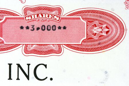 nyse: Old stock certificate of an American corporation. 3000 shares.