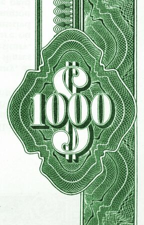 Close-up of vintage American bond document. 1000 dollars.