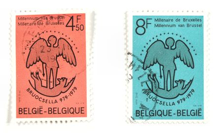 collectible: Collectible stamps from Belgium. Set with anniversary of Brussel. Stock Photo