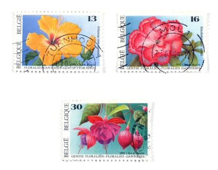 collectible: Collectible stamps from Belgium. Set with flowers. Stock Photo