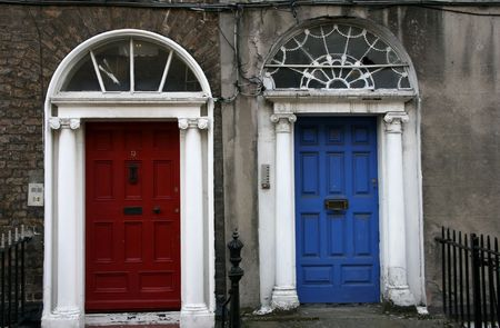 Georgian architecture of Dublin - twin doors in red and blue photo