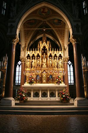 Votivkirche in Vienna, Austria - one of the most important neo-Gothic religious architectural sites in the world. Main altar.