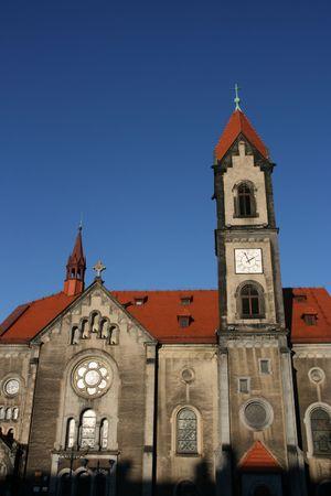 gory: Chiesa evangelica sulla piazza del mercato di Tarnowskie Gory nella regione Slesia (Polonia)