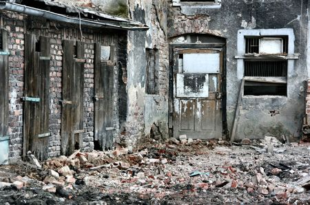 ruined: Old city ruin. Slums area in Ukraine.