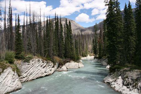 クートネー国立公園カナダの。岩の間の山の風景、川のチャネル。 写真素材