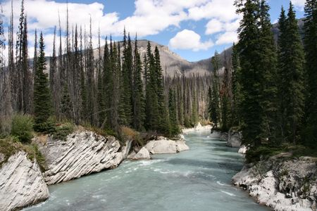 Kootenay National Park of Canada. Mountain landscape and river channel among rocks.