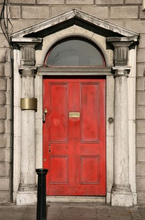 Georgian architecture of Dublin - red door in old building Stock Photo - 2370650