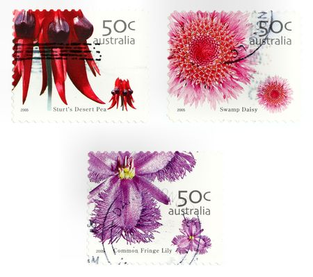 collectible: Collectible stamps from Australia. Set with flowers and plants.