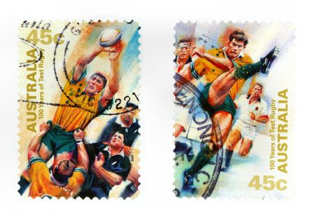 collectible: Collectible stamps from Australia. Set with test rugby sport.