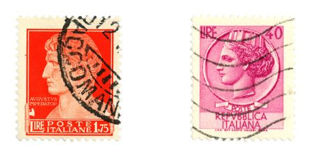 collectible: Collectible stamps from Italy. Set with Augustus Caesar, the Roman Emperor and Italia Turrita. Stock Photo
