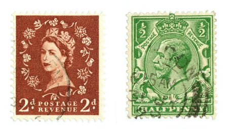 collectible: Collectible stamps from United Kingdom. Set with the queen and some other person.