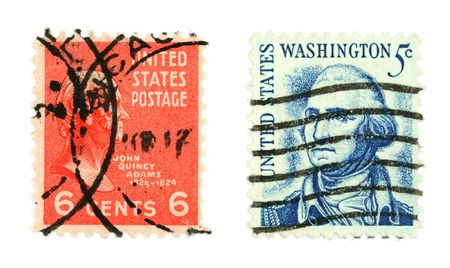 collectible: Collectible stamps from United States. Set with John Quincy Adams and George Washington.