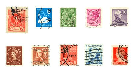 Collectible stamps from various countries. Colorful historic stamp collection.