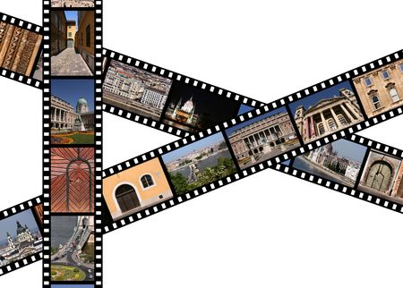 Film strips with travel photos. Budapest, Hungary. Stock Photo