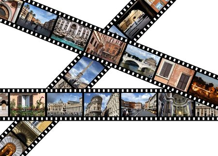 Film strips with travel photos. Rome, Italy, Europe.