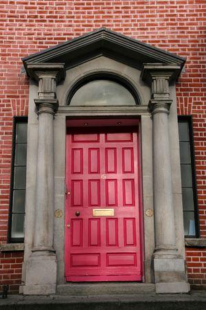 Georgian architecture of Dublin - red door in old building Stock Photo - 2536981