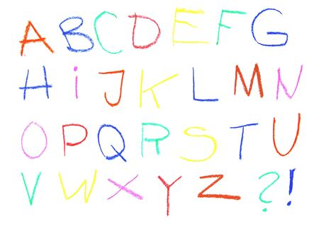 Child drawing of alphabet font made with wax crayons Stock Photo - 2548740