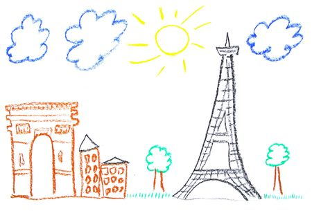 pastelky: Child drawing of Paris landmarks made with wax crayons