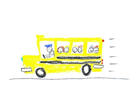 kids painting: Child drawing of School Bus made with wax crayons