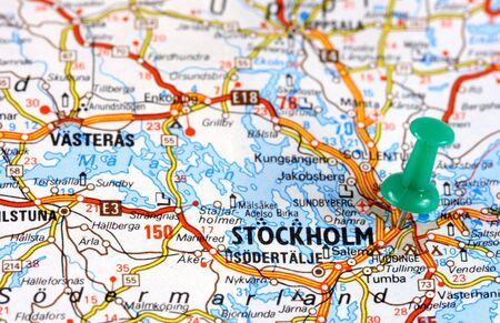 Stockholm in Sweden, Europe. Push pin on an old map showing travel destination. Selective focus. photo
