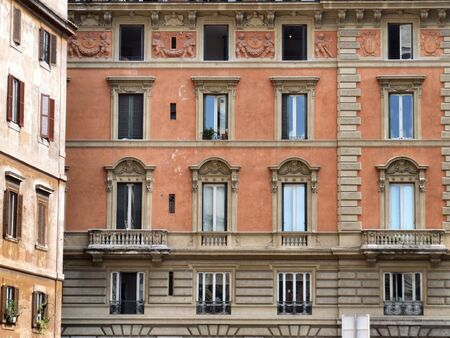 balcony window: Rome windows. Typical architecture of Italian capital city.