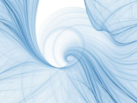 Abstract fractal background. Computer generated graphics. Blue swirl lines.