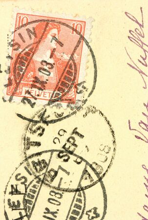 helvetia: Vintage Helvetia post stamp cancelled in 1908. Old postcard. Stock Photo