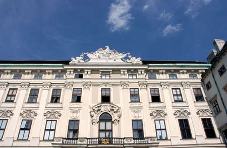 Hofburg windows, balcony, roof sculpture and decorations. Vienna landmark. Stock Photo - 2678488