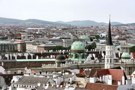 Panorama of Vienna - cityscape of Austrian capital city. Seen from Stephansdom. photo