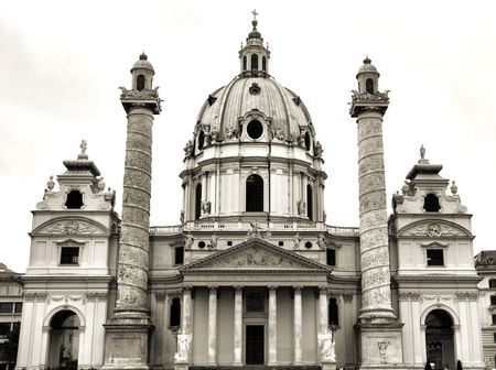 st charles: Vienna in sepia - beautiful landmark of Austrian capital city. St. Charles Cathedral. Stock Photo