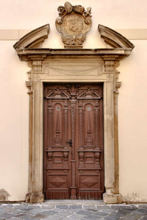 Vintage wooden door in Kromeriz, Czech Republic, Europe Stock Photo - 2678480