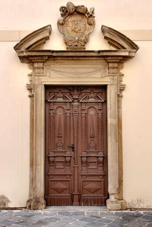 Vintage wooden door in Kromeriz, Czech Republic, Europe Stock Photo - 2678480