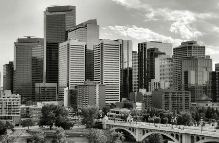 blackwhite: Calgary downtown. Multitude of skyscrapers and modern office building in the biggest city of Alberta, Canada.