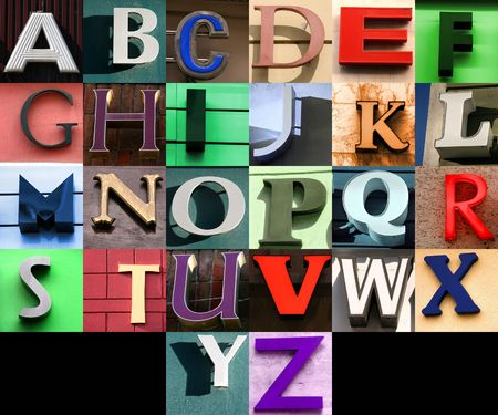 Street alphabet collage. Colorful letters from towns and cities. Stock Photo