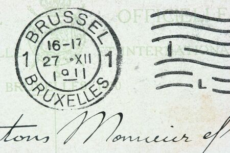 bruxelles: Vintage cancellation stamp from Brussels (Bruxelles) on an old post card (dated 1911). Stock Photo