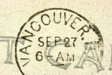 cancellation: Vintage cancellation stamp from Vancouver on an old post card