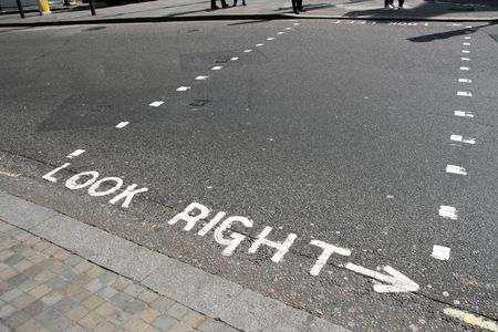 look at right: LOOK RIGHT message for the pedestrians in London, United Kingdom Stock Photo