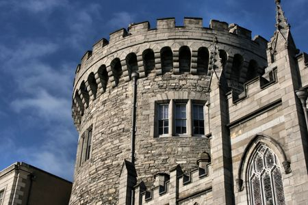 Dublin castle tower - old landmark in Irish capital city