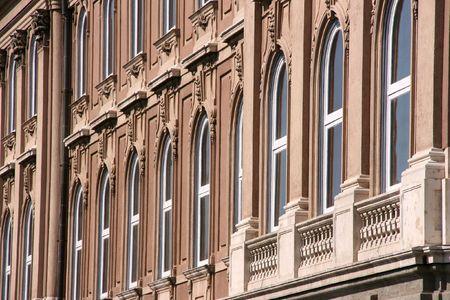 Budapest Castle windows. Hungarian capital city landmark. photo