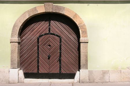 Old wooden door in Budapest. Beautiful vintage architecture. Stock Photo - 3001087