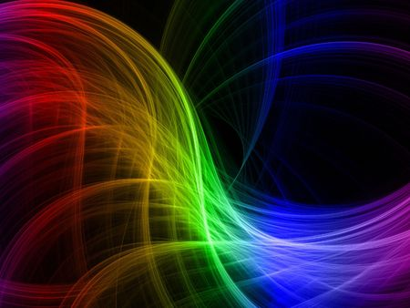 Abstract fractal background. Computer generated graphics. Rainbow light blur.