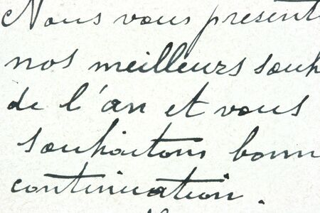 written communication: Vintage hand writing on a letter. Old paper with visible structure. Pen ink.