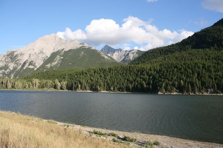 provincial: Island Lake Provincial Park - vista with Rocky Mountains Stock Photo