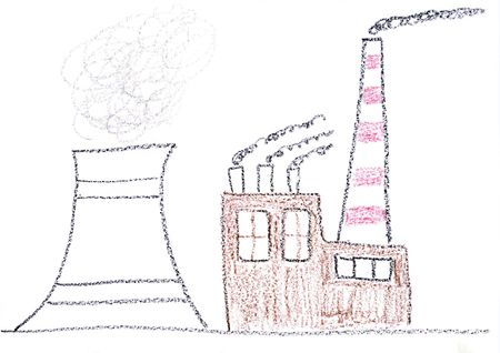nuclear plant: Child drawing of nuclear power plant made with wax crayons Stock Photo