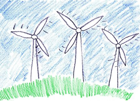 turbines: Child drawing of alternative power generation made with wax crayons