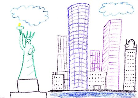 Child drawing of New York city made with wax crayons