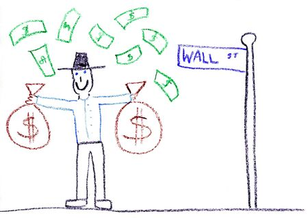 Child drawing of Wall Street investor made with wax crayons Stock Photo - 3095371