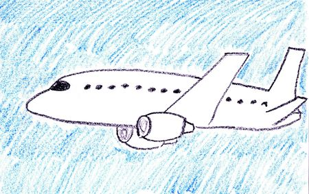 jet airplane: Child drawing of passenger jet aircraft made with wax crayons