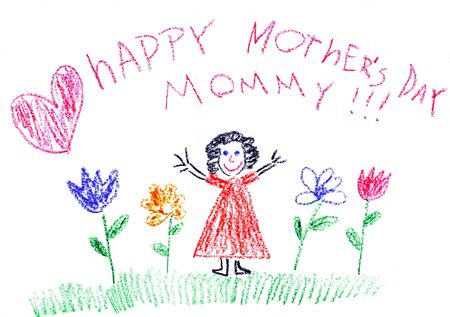 Child drawing of Mother's Day made with wax crayons Stock Photo - 3095384