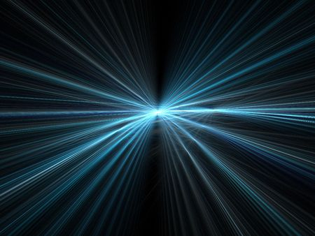 warp speed: Abstract fractal background. Computer generated graphics. Incredible speed - blue motion light rays. Stock Photo